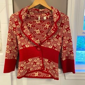 Anthropologie Moth red and white blazer cardigan